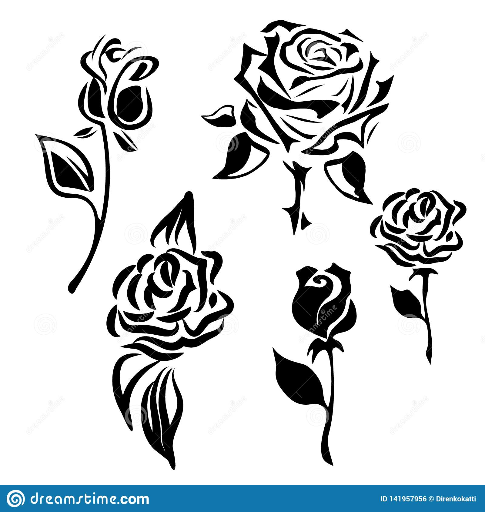 Flower Icon Set Of Decorative Rose Silhouettes Vector Rose Stock Vector Illustration Of Monochrome Leaf 141957956