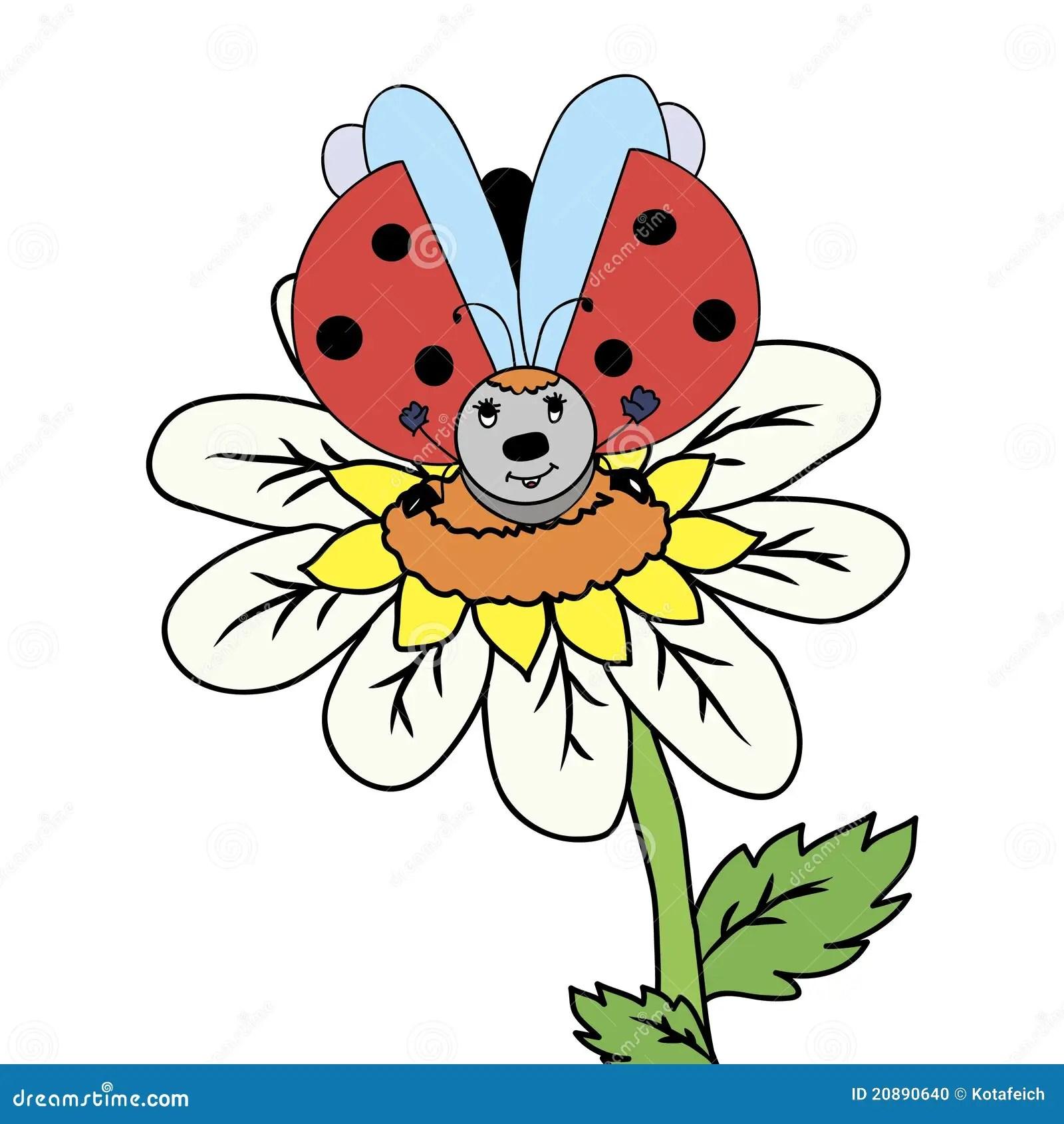 Flower With Ladybug Stock Vector Illustration Of Symbol