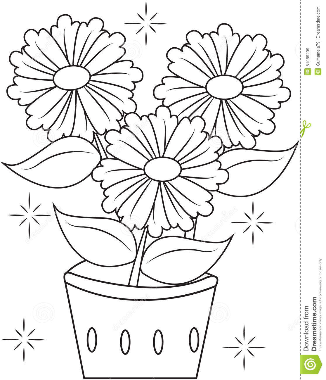 flower pot coloring page useful as coloring book for kids