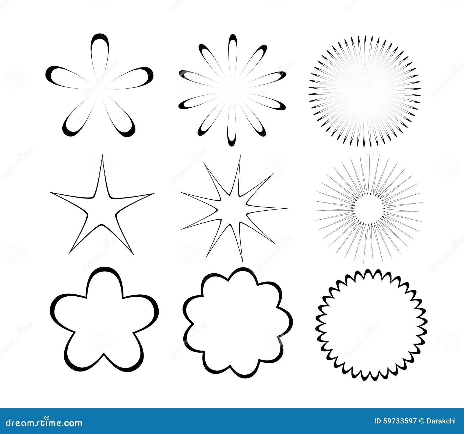 Flower And Stars Shapes Stock Illustration Illustration