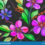 Flowers Illustration On A Black Background Oil Painting Impressionism Style Flower Painting Canvas Stock Illustration Illustration Of Drawing Creativity 128749507