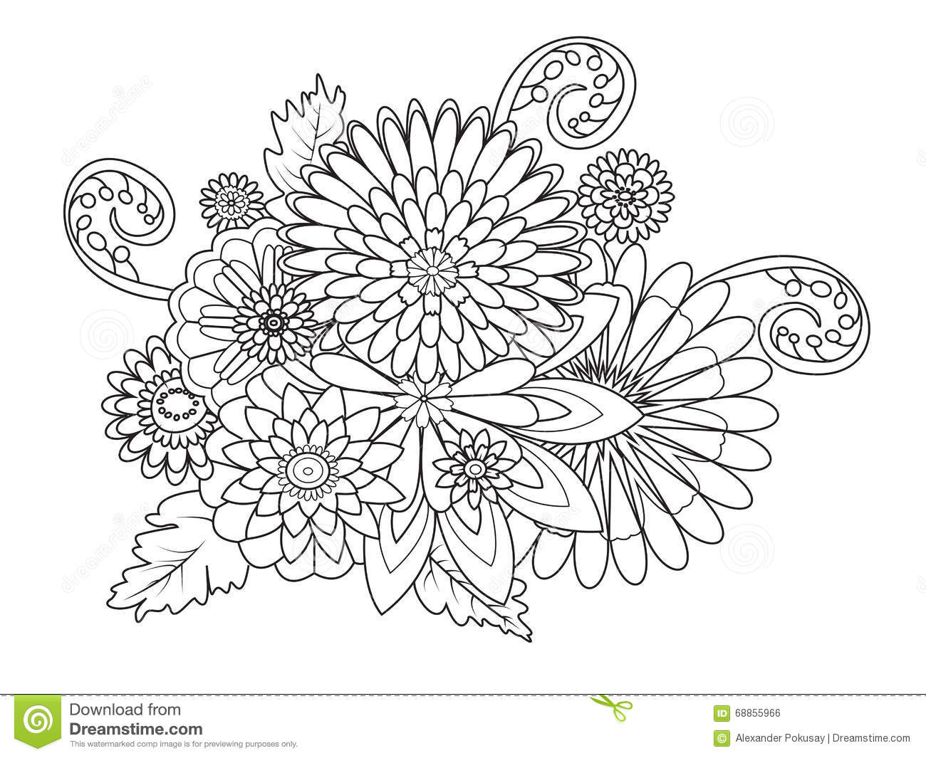 Flowers Ornament Coloring Book For Adults Vector Stock