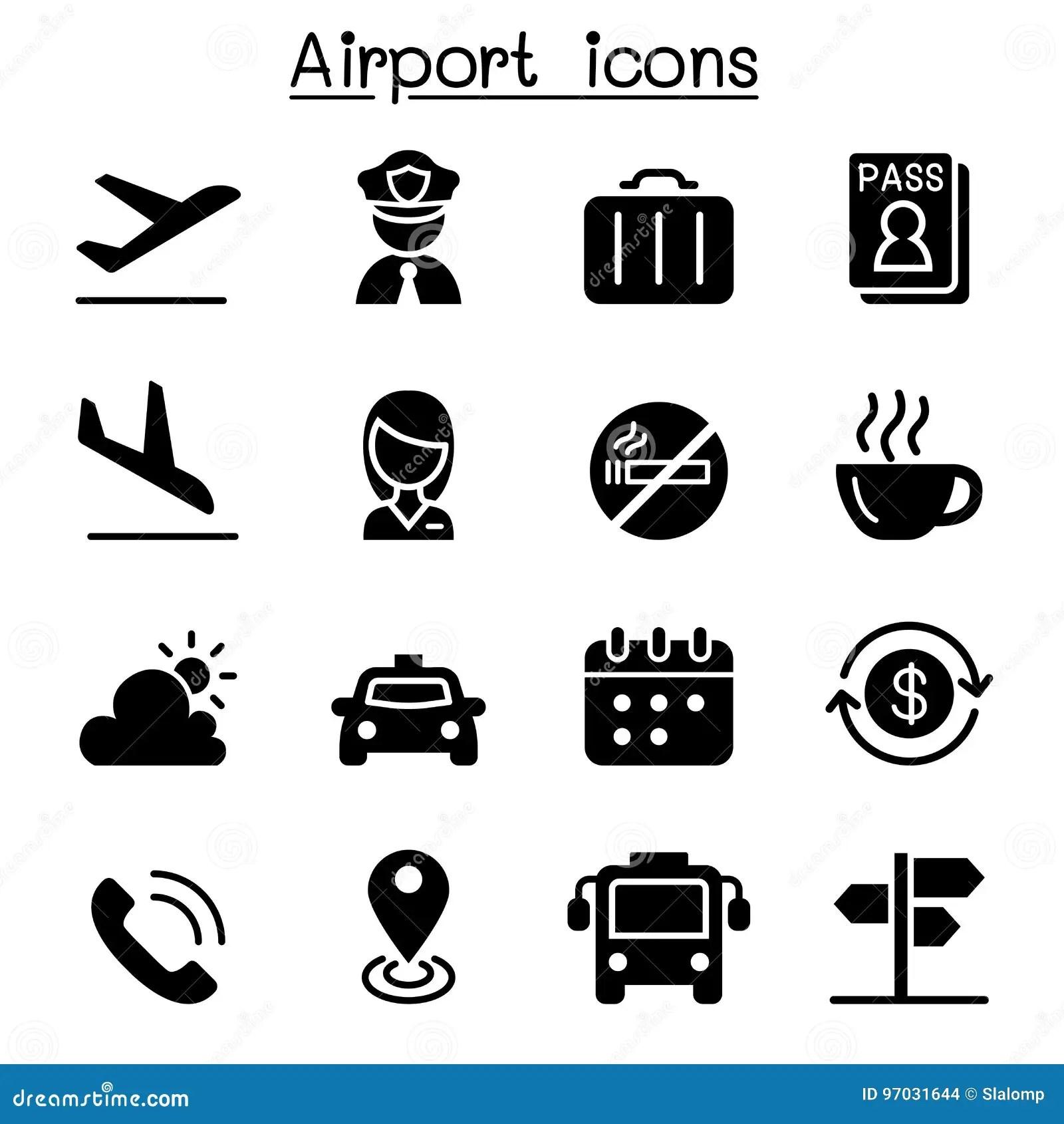 Flygplats Amp Flygsymbolsuppsattning Stock Illustrationer