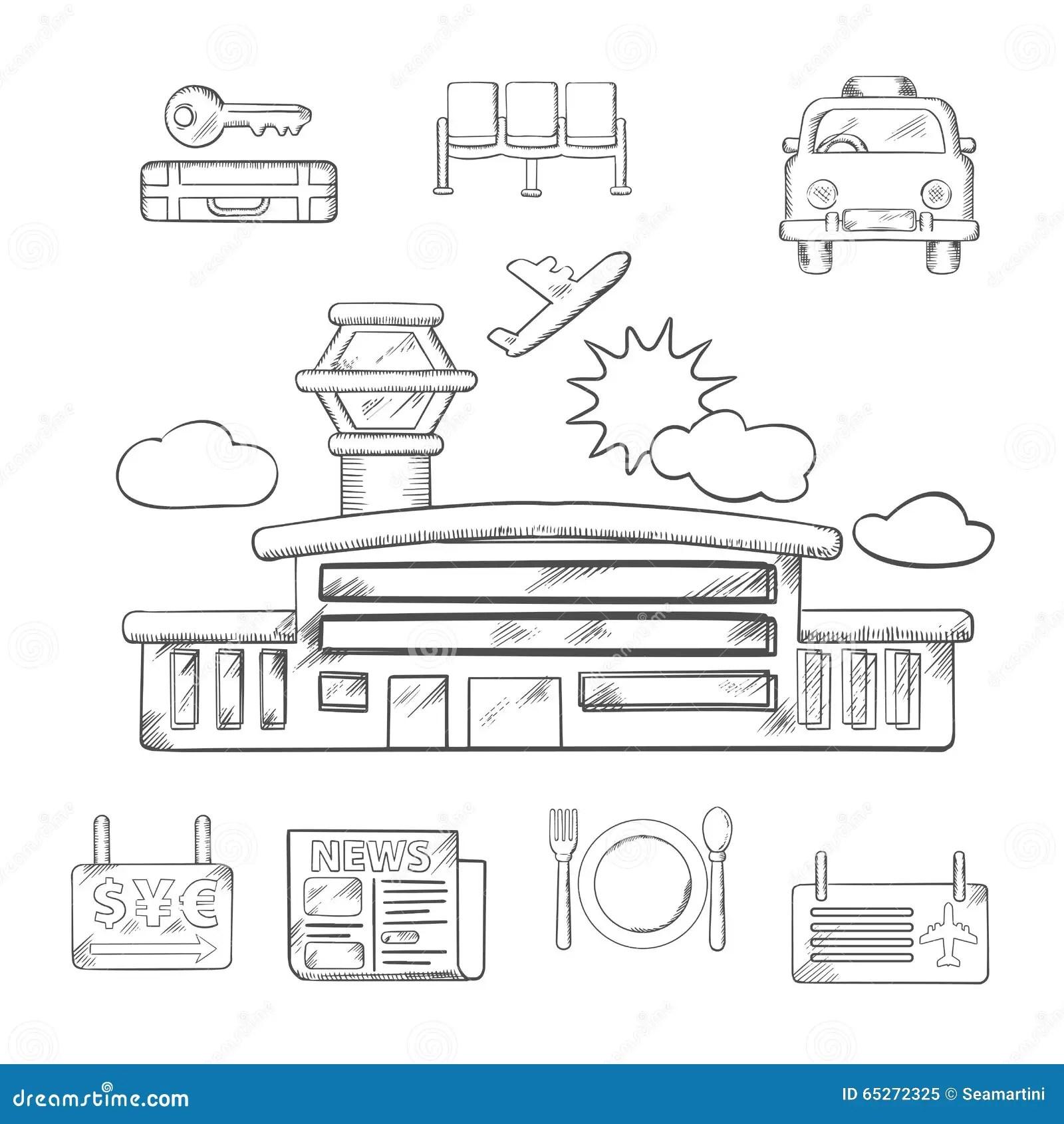 Flygplatsen Och Flygservice Skissar Design Vektor Illustrationer