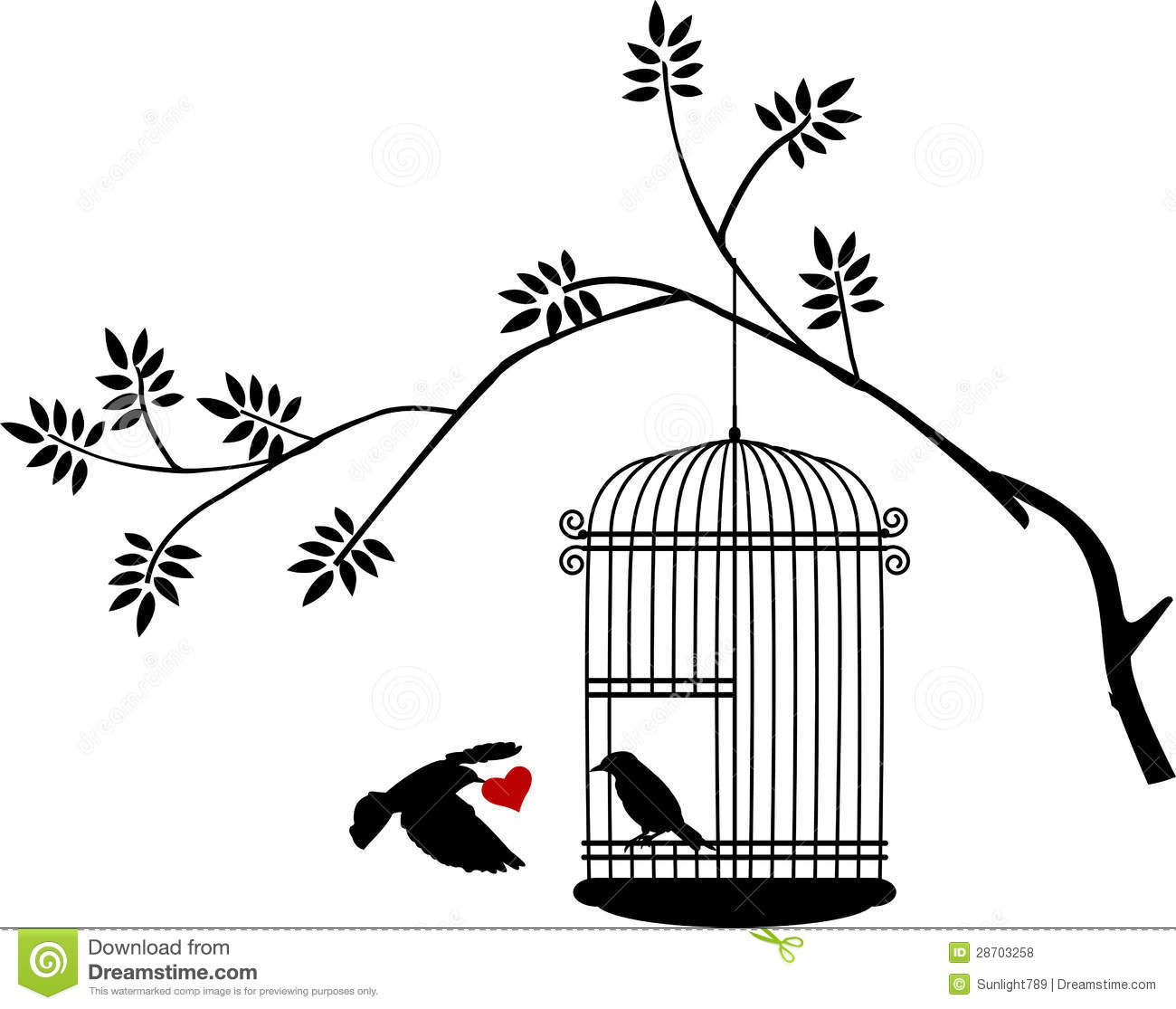 Flying Bird With A Love For The Bird In The Cage Royalty