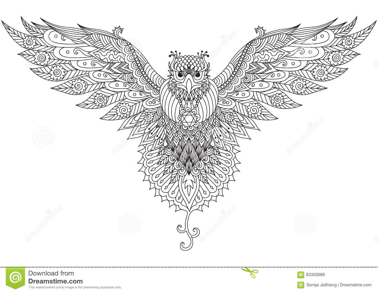 Flying Falcon Zendoodle Design For T Shirt Graphic Tattoo Logo And Adult Coloring Stock Vector