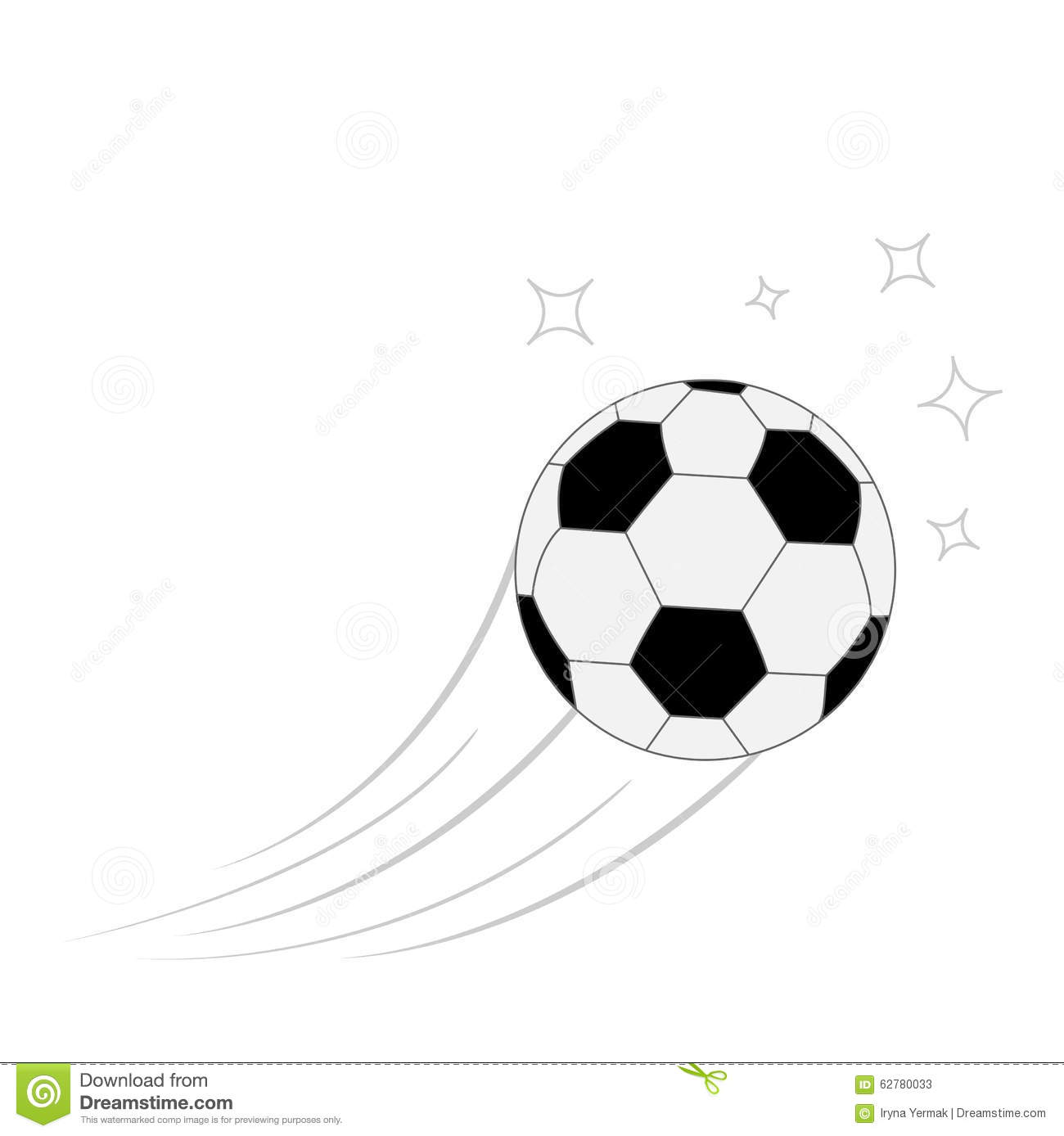 Flying Football Soccer Ball With Motion Trails And Stars