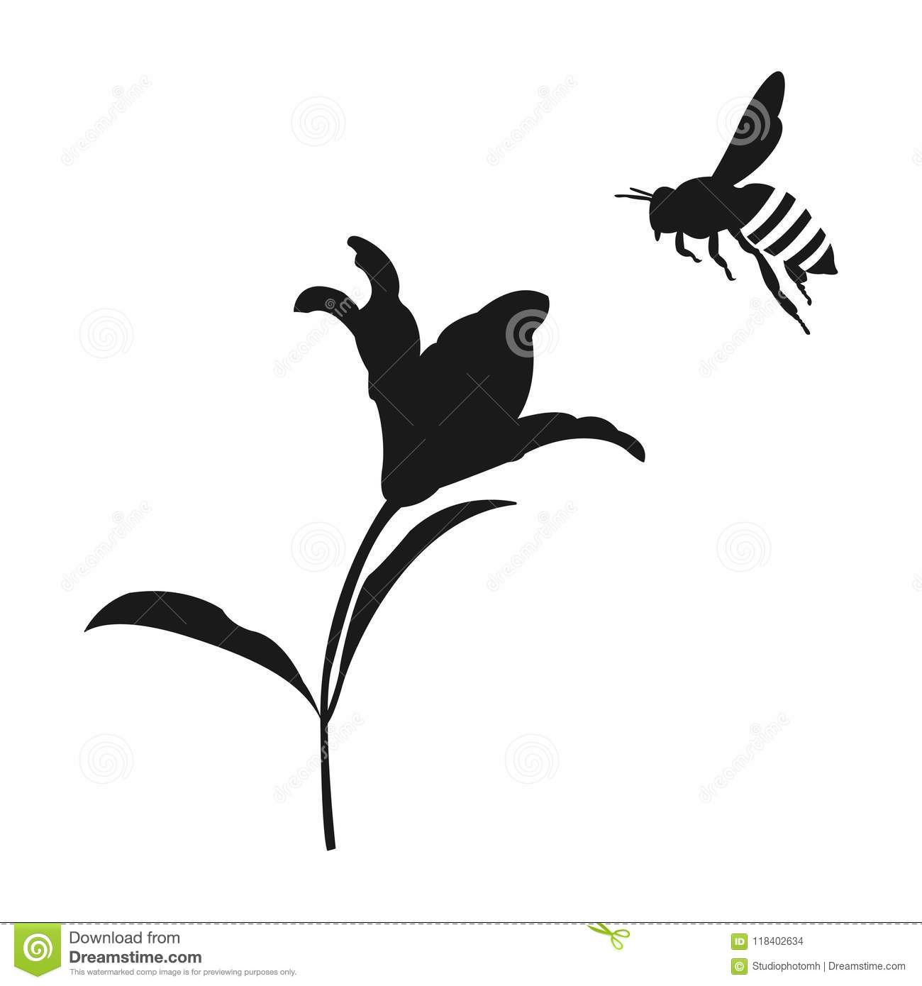 Bee Silhouette Stock Illustrations 2 815 Bee Silhouette