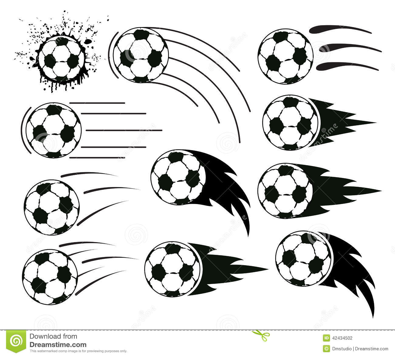 Vector Flying Soccer And Football Balls Stock Vector