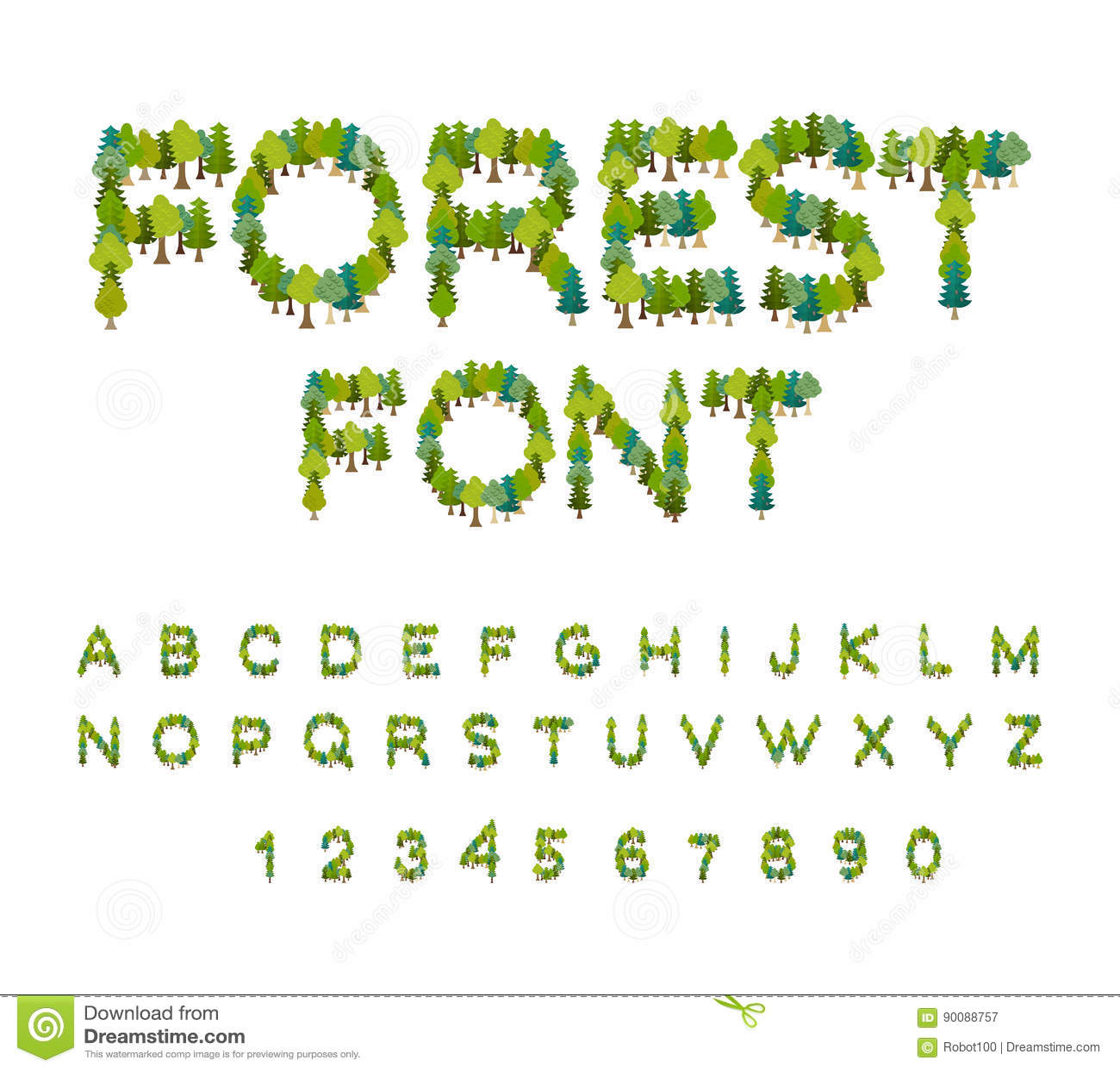 Fonte Da Floresta Alfabeto Da Arvore Letra Da Arvore