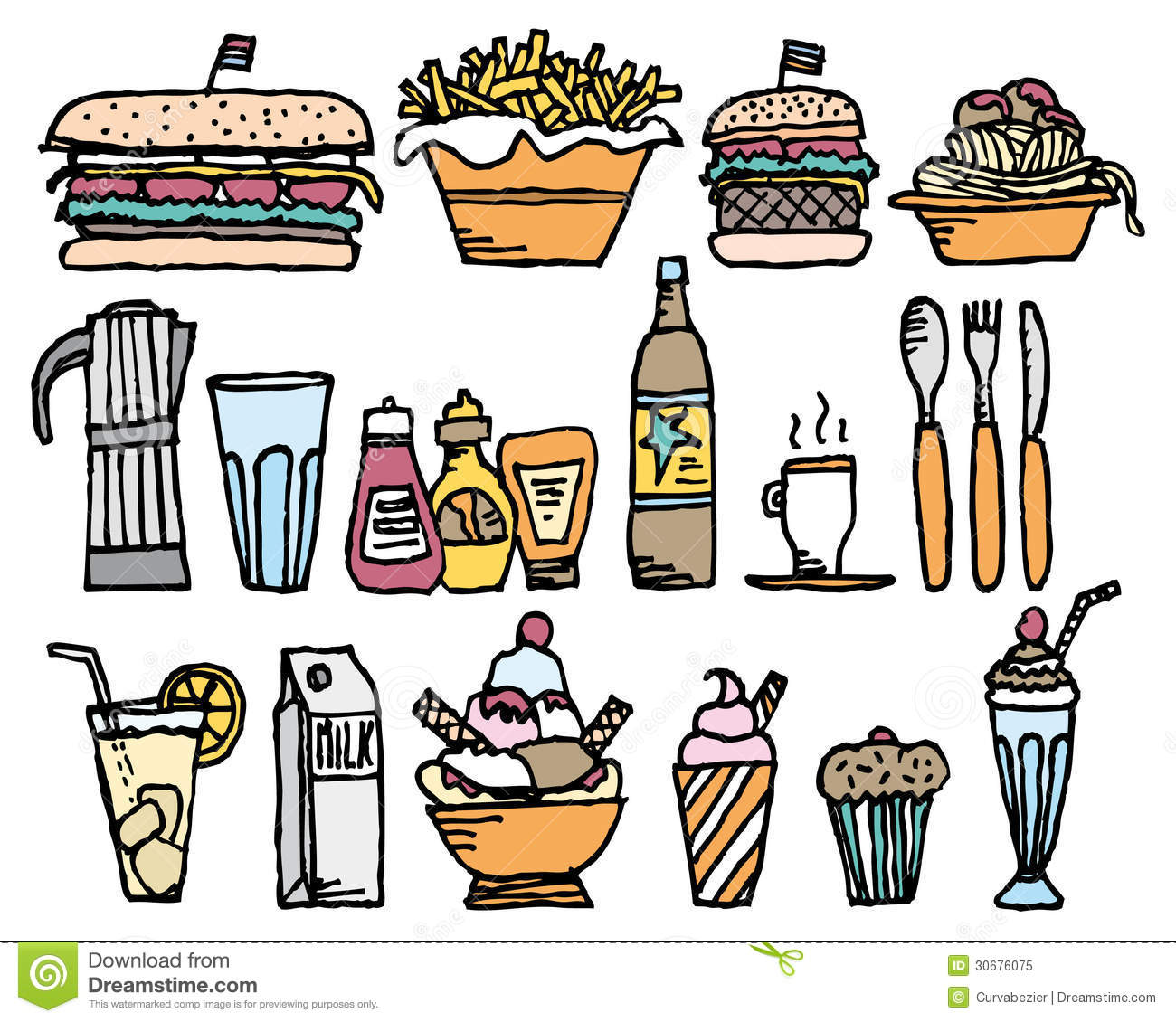 Food And Drinks Color Restaurant Stuff Royalty Free