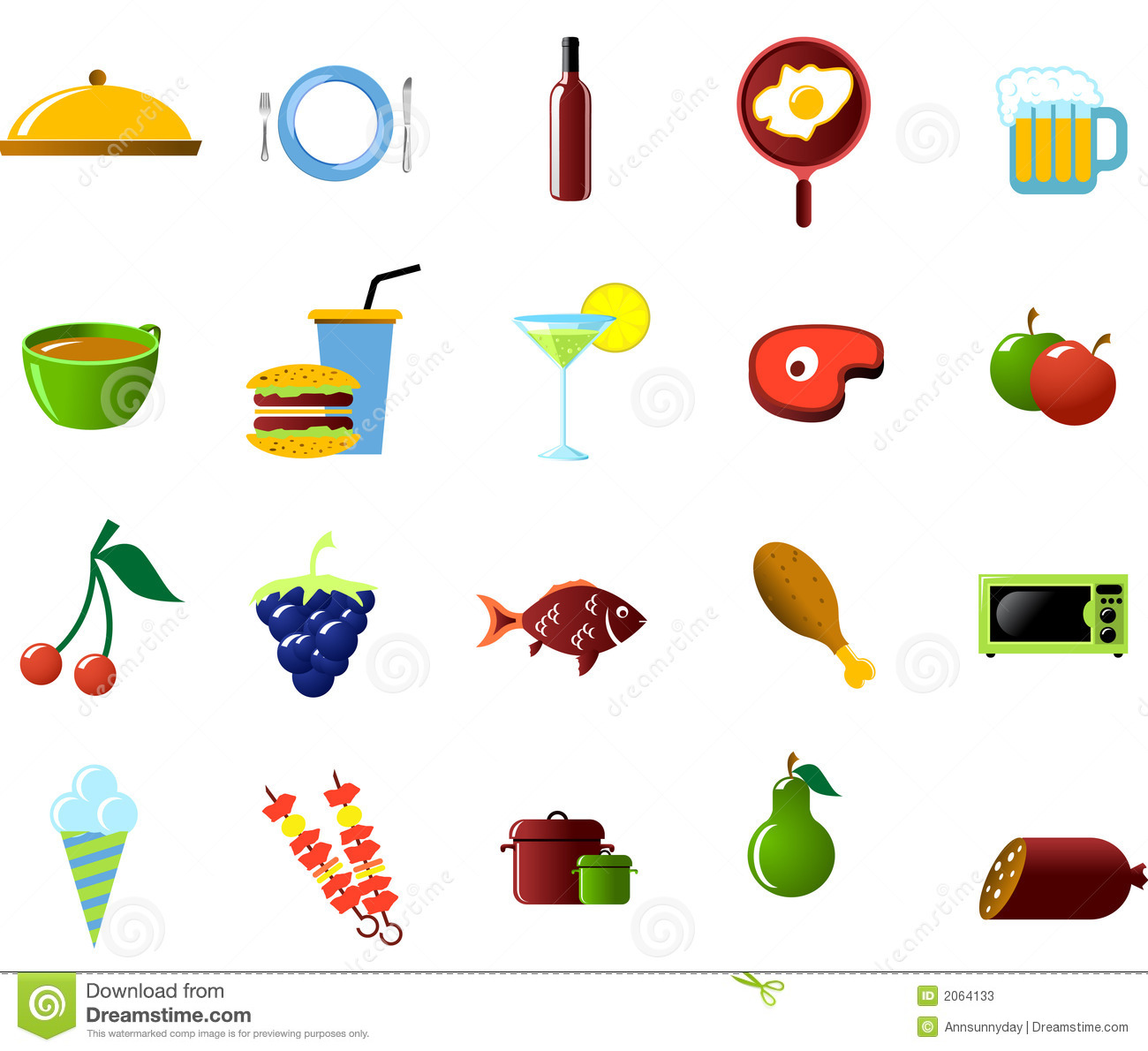 Food And Kitchen Objects Stock Vector Illustration Of