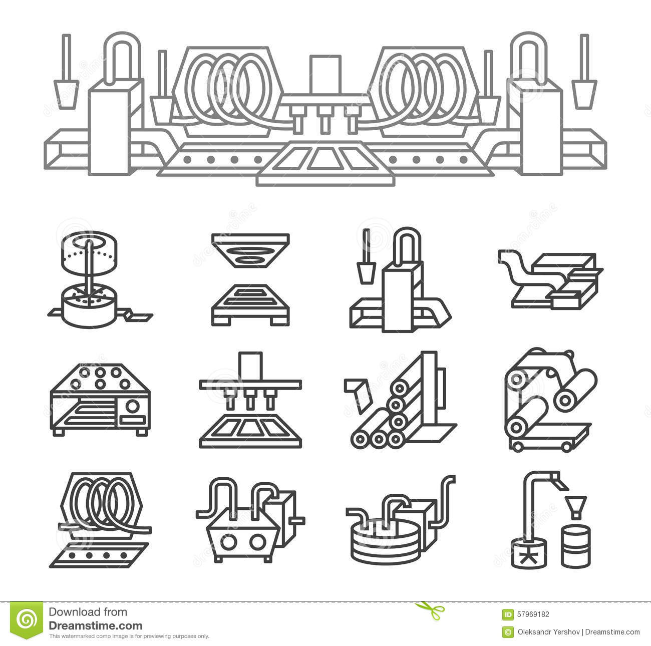 Food Production Simple Line Icons Stock Photo