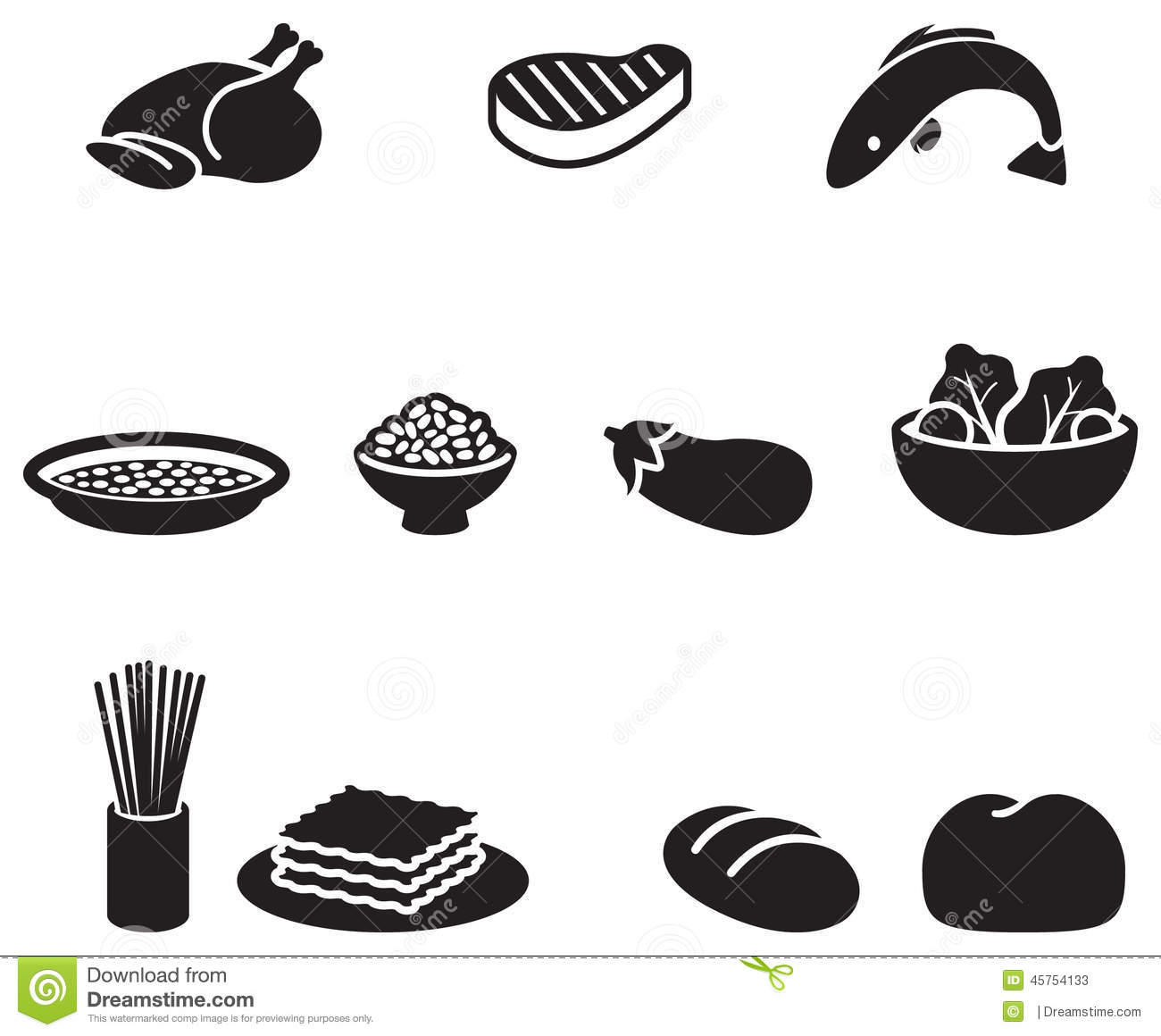 Food Symbols Stock Illustration Illustration Of Eggplant