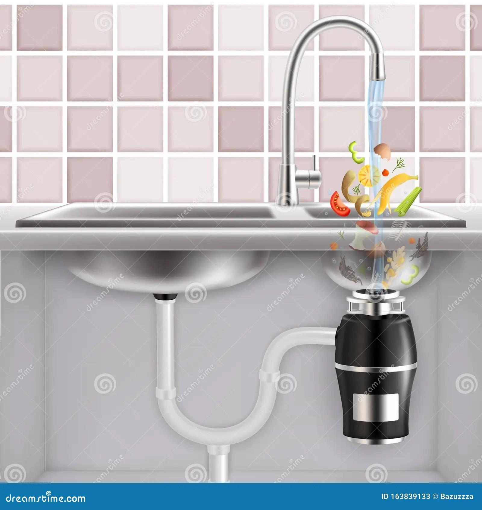 https www dreamstime com food waste disposer kitchen scraps vector realistic illustration fitted under sink slices fruits vegetables other image163839133