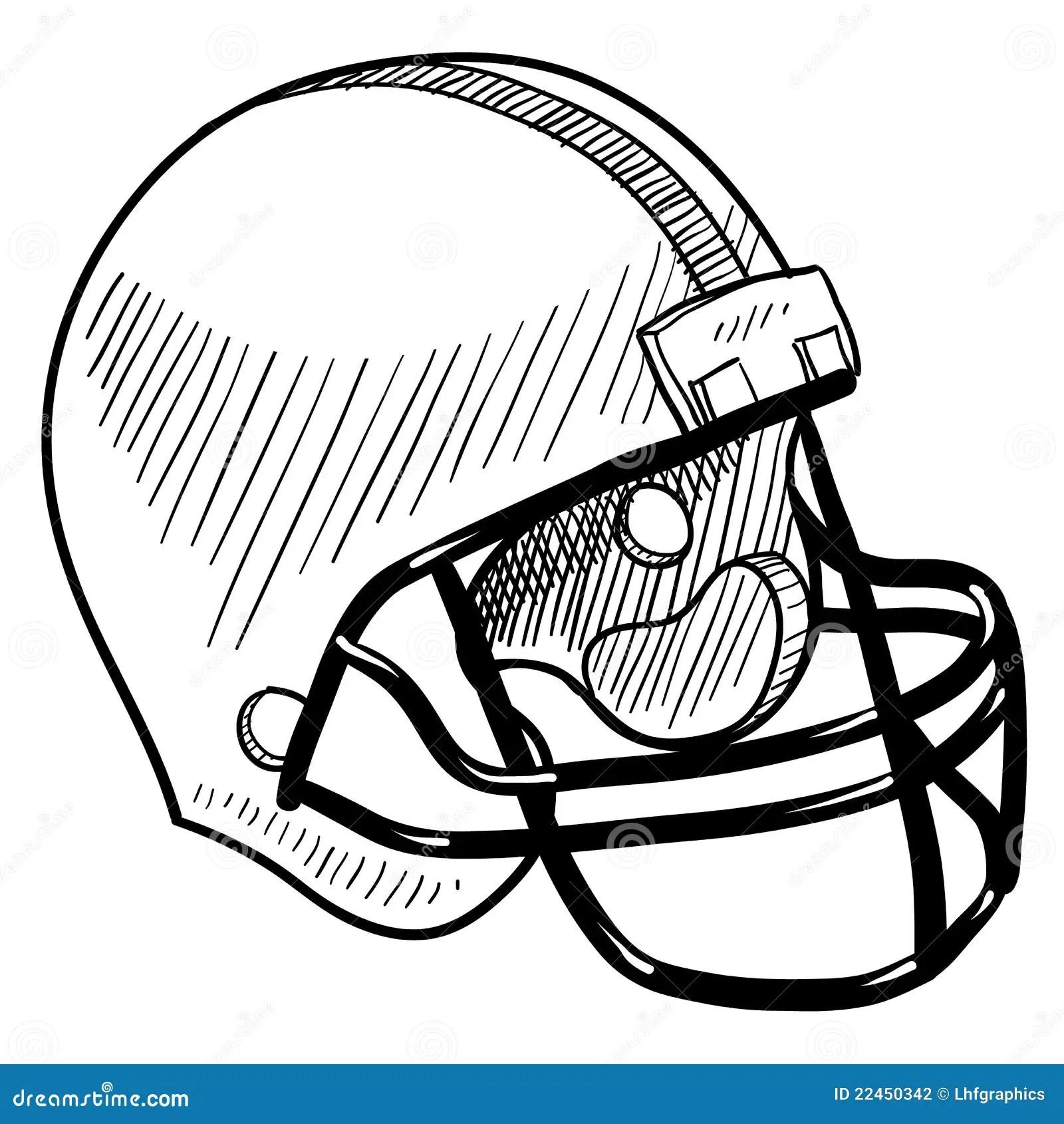 Football Helmet Drawing Stock Vector Illustration Of