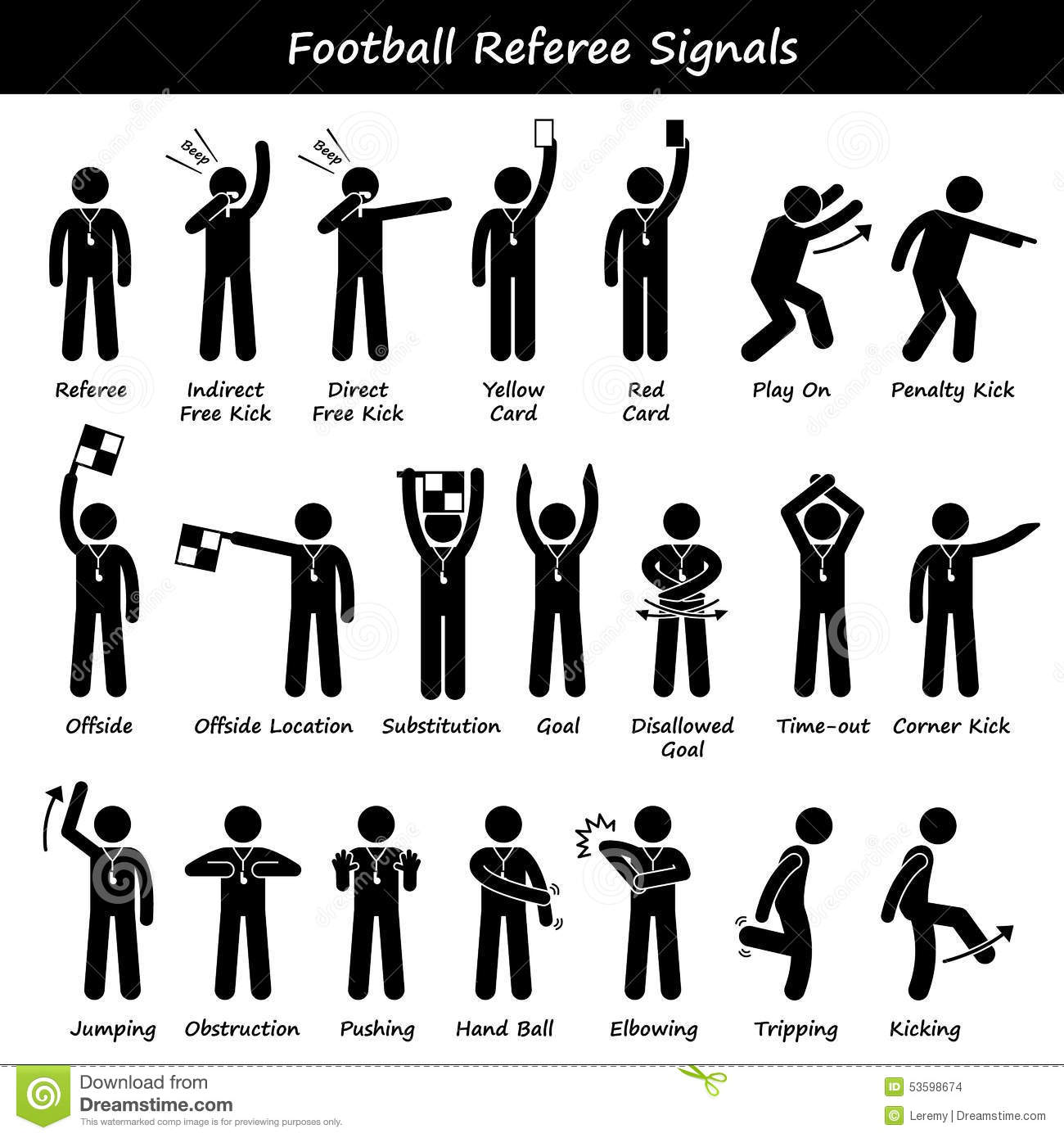 Football Soccer Referees Officials Hand Signals Cliparts