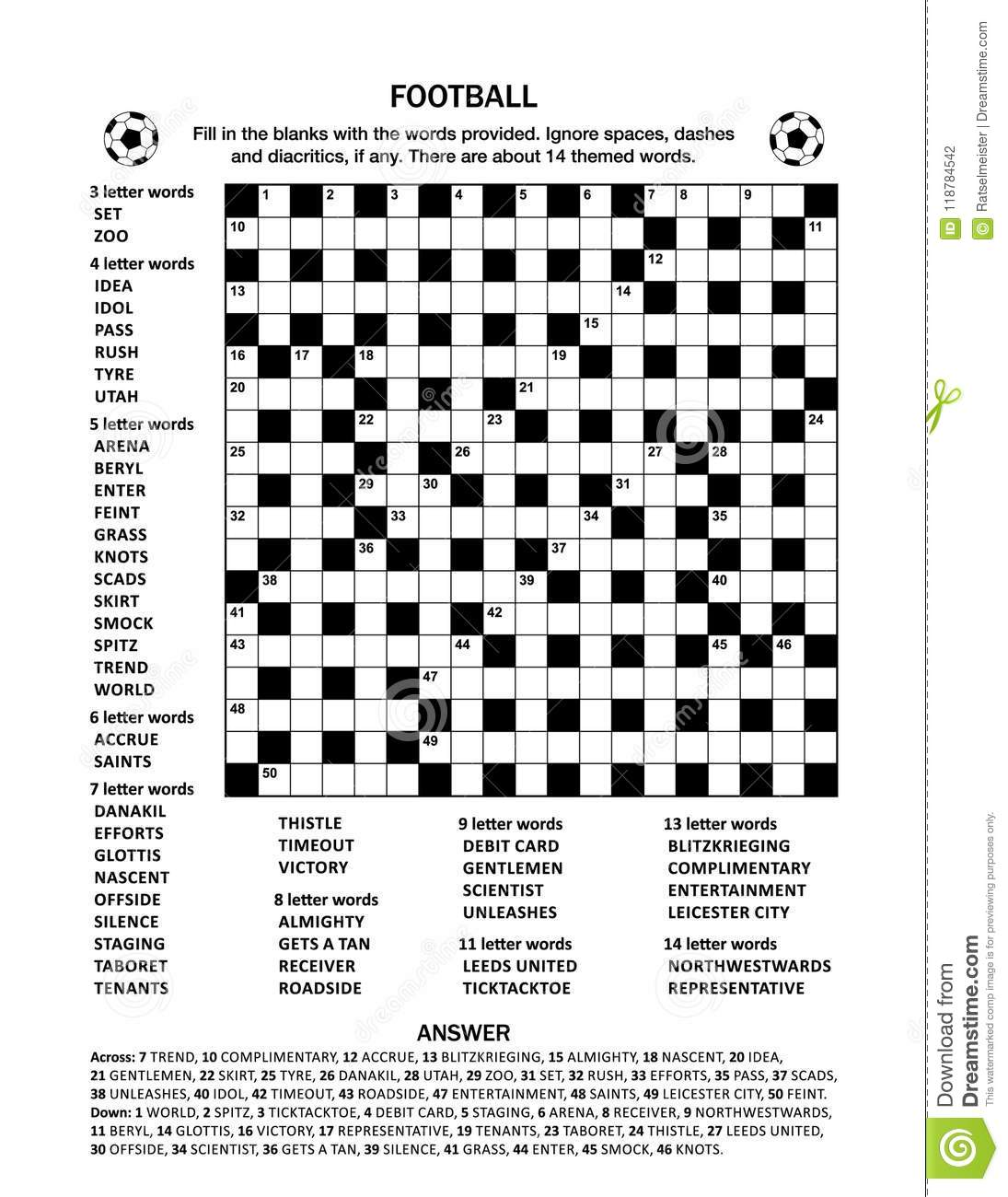 Crossword Puzzles For Kids Sports