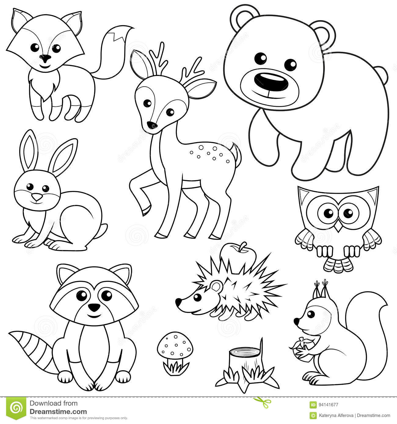 Forest Animals Fox Bear Raccon Hare Deer Owl