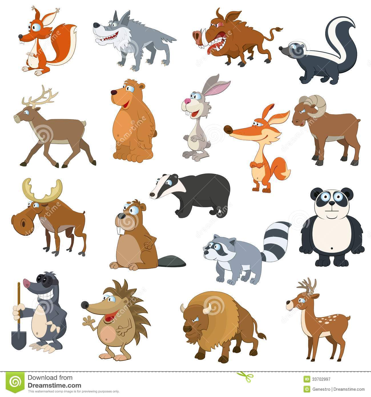 Forest Animals Set Stock Vector Image Of Beaver Isolated
