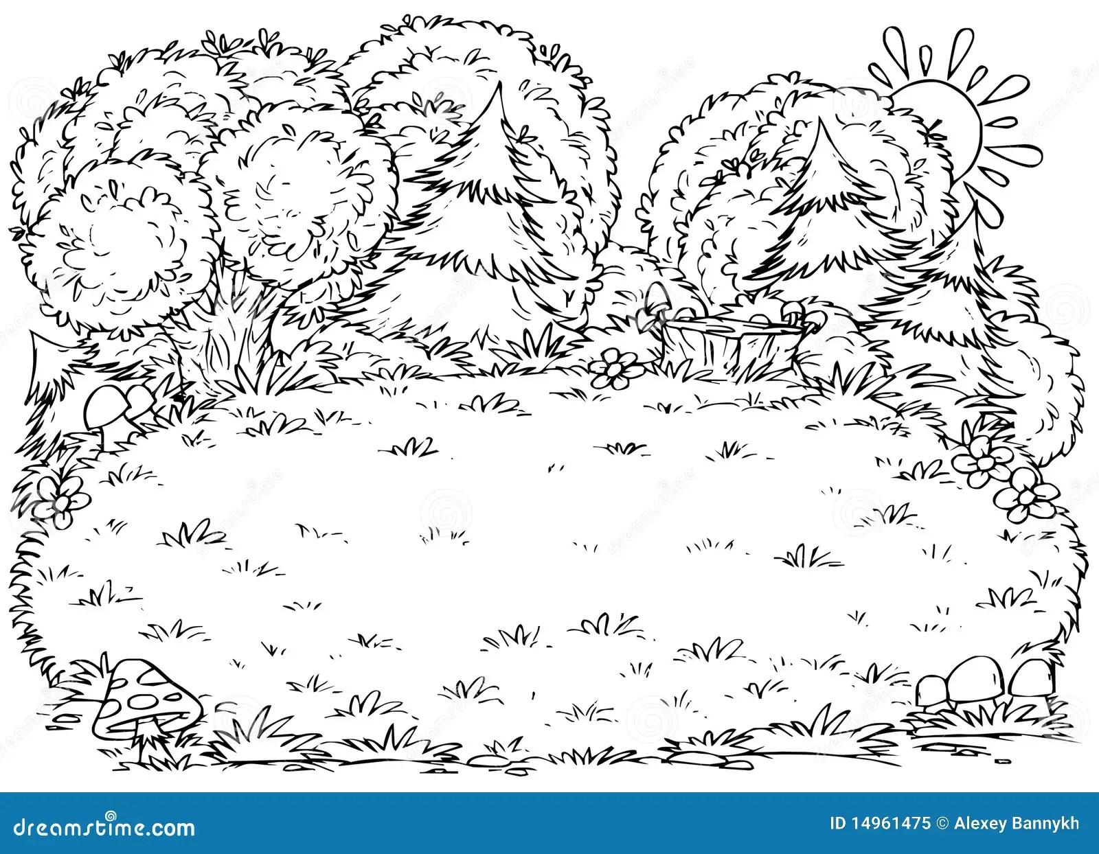 Forest Glade Stock Illustration Illustration Of Drawing