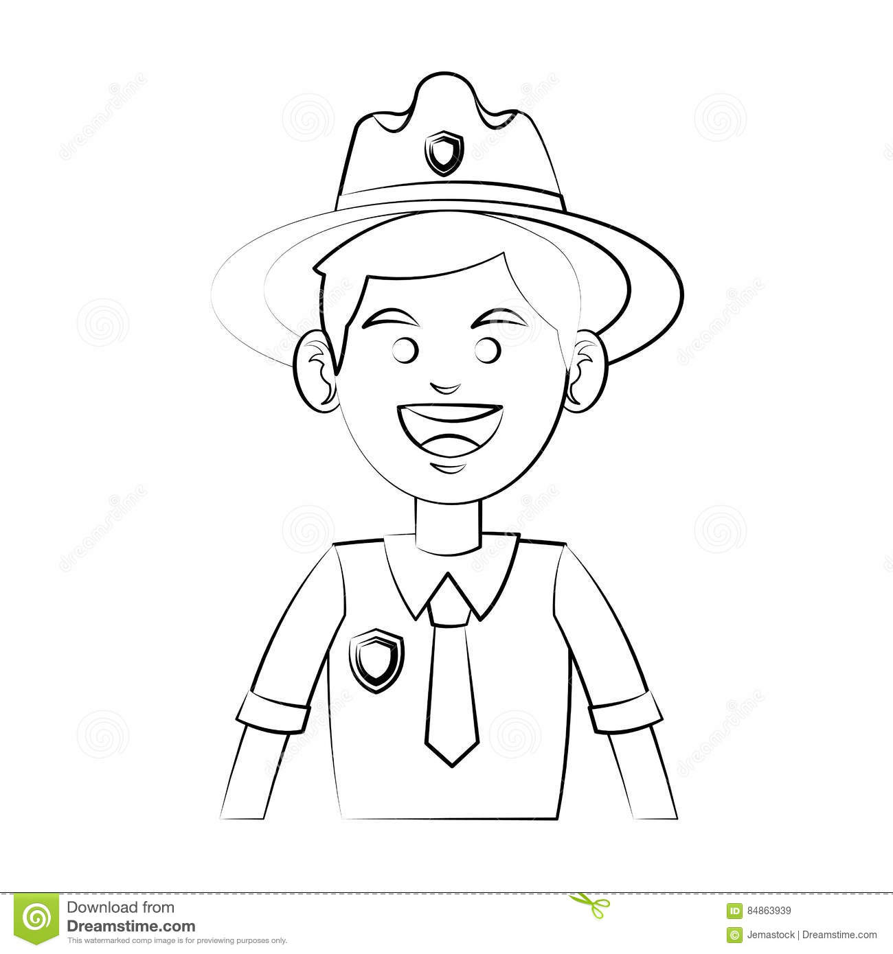 Forest Ranger Icon Stock Vector Illustration Of Face