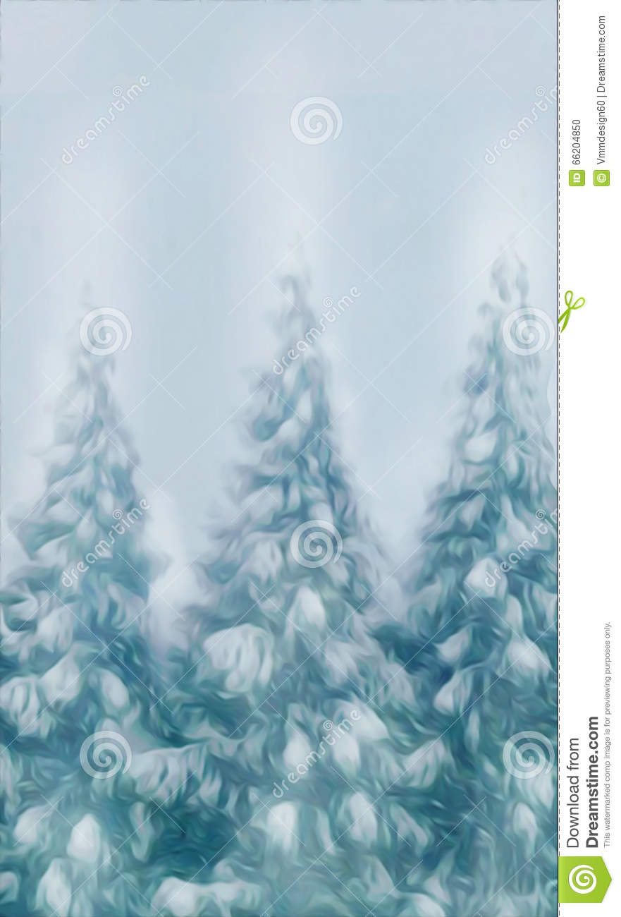 Forest Snow Covered Trees On A Winter Snow Background