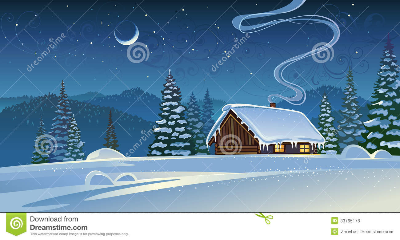 Forest Winter Landscape With A Hut Stock Vector