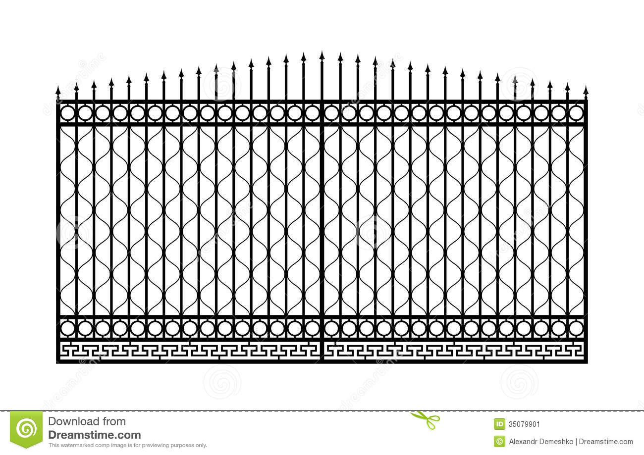 Forged Gate With Sharp Spikes Stock Vector