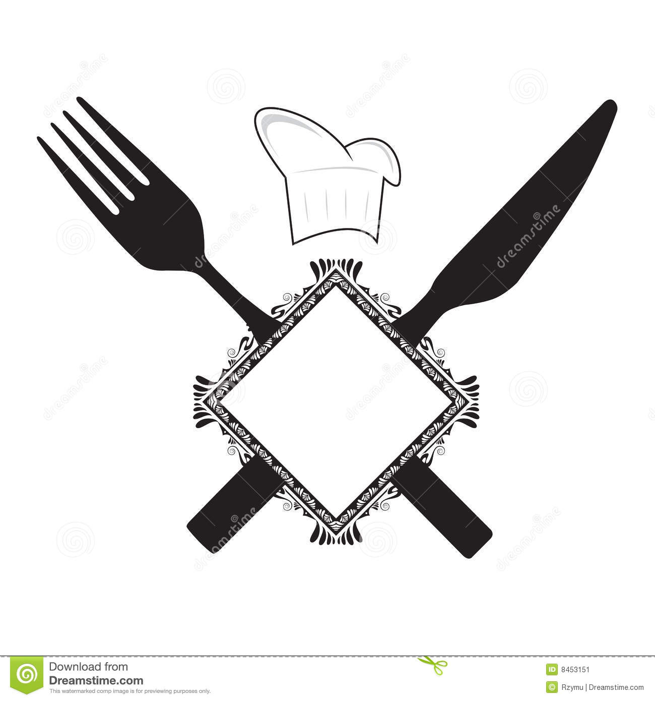 Fork Knife And Chef Hat Stock Vector Illustration Of