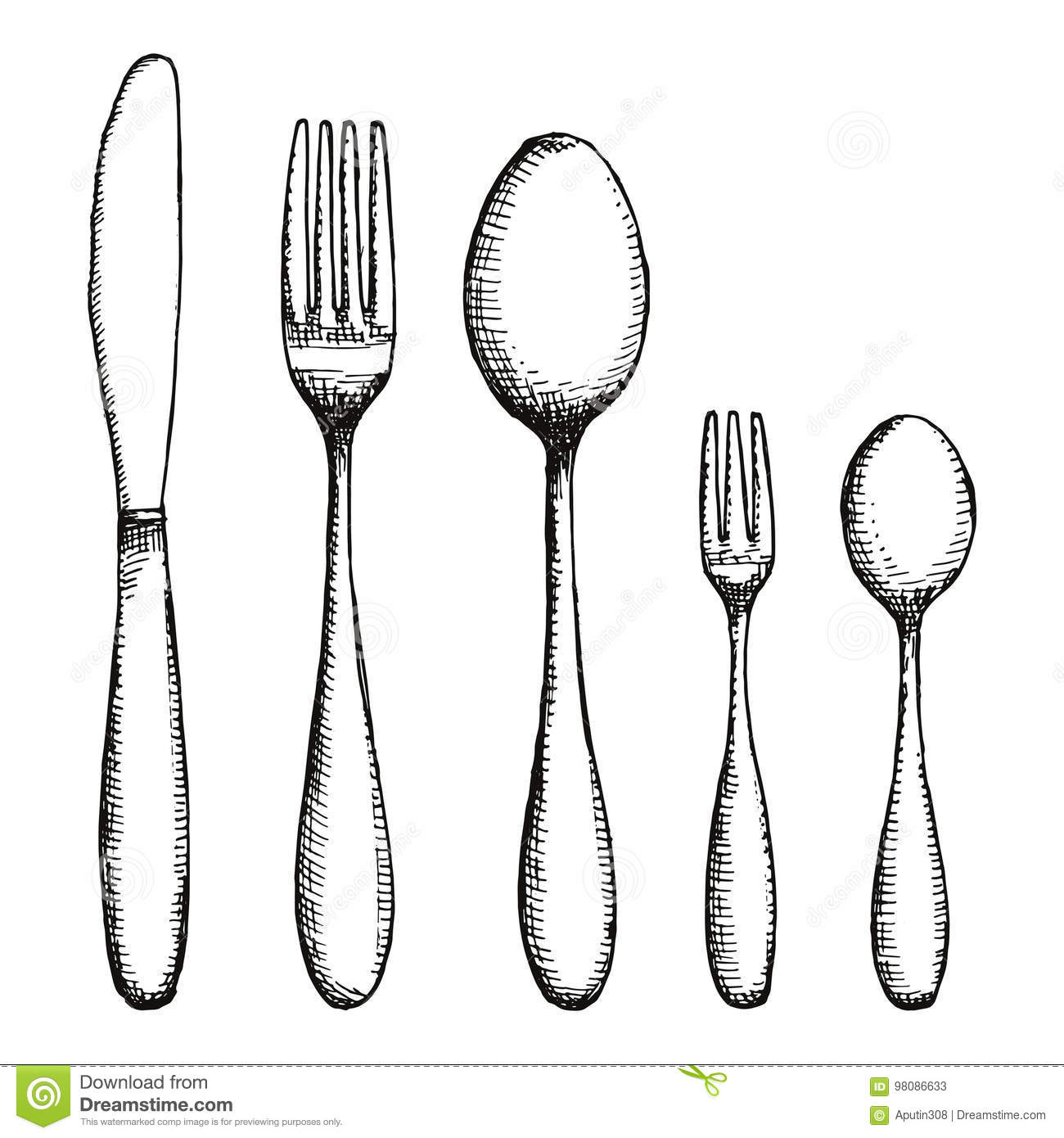 Fork Knife And Spoon Cutlery Vector Illustration Stock