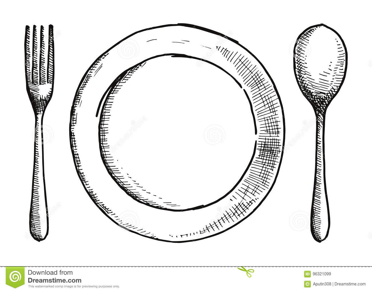 Fork Spoon And A Plate Of Hand Drawing Cutlery Vector