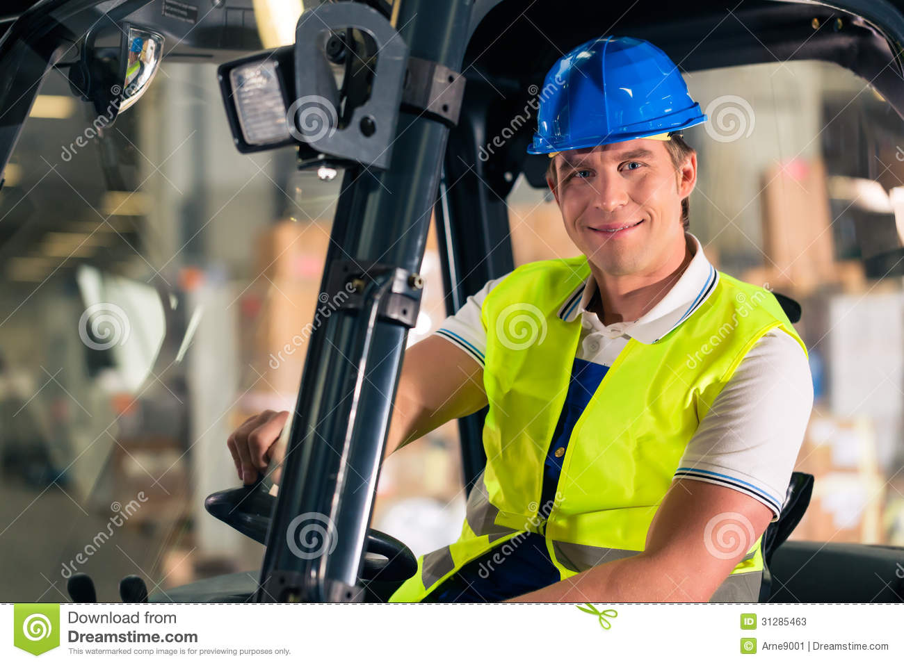 Forklift Driver At Warehouse Of Forwarding Stock Photos