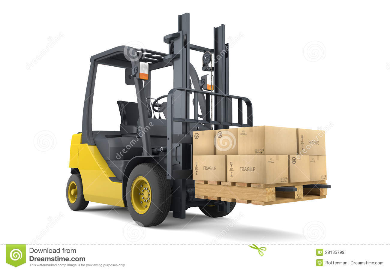 Forklift Moving Boxes Royalty Free Stock Images Image