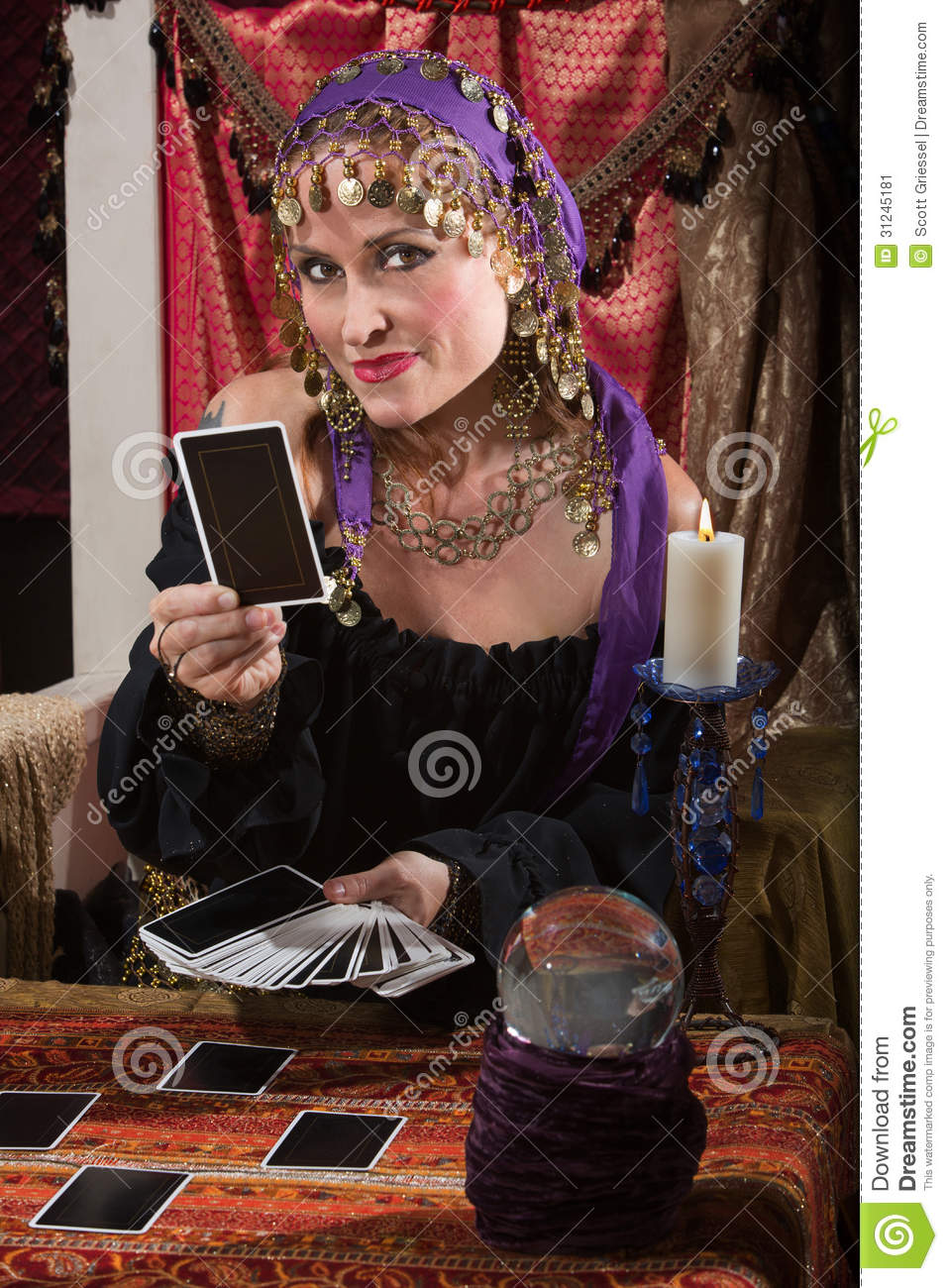 Fortune Teller Dealing Tarot Cards Stock Image Image