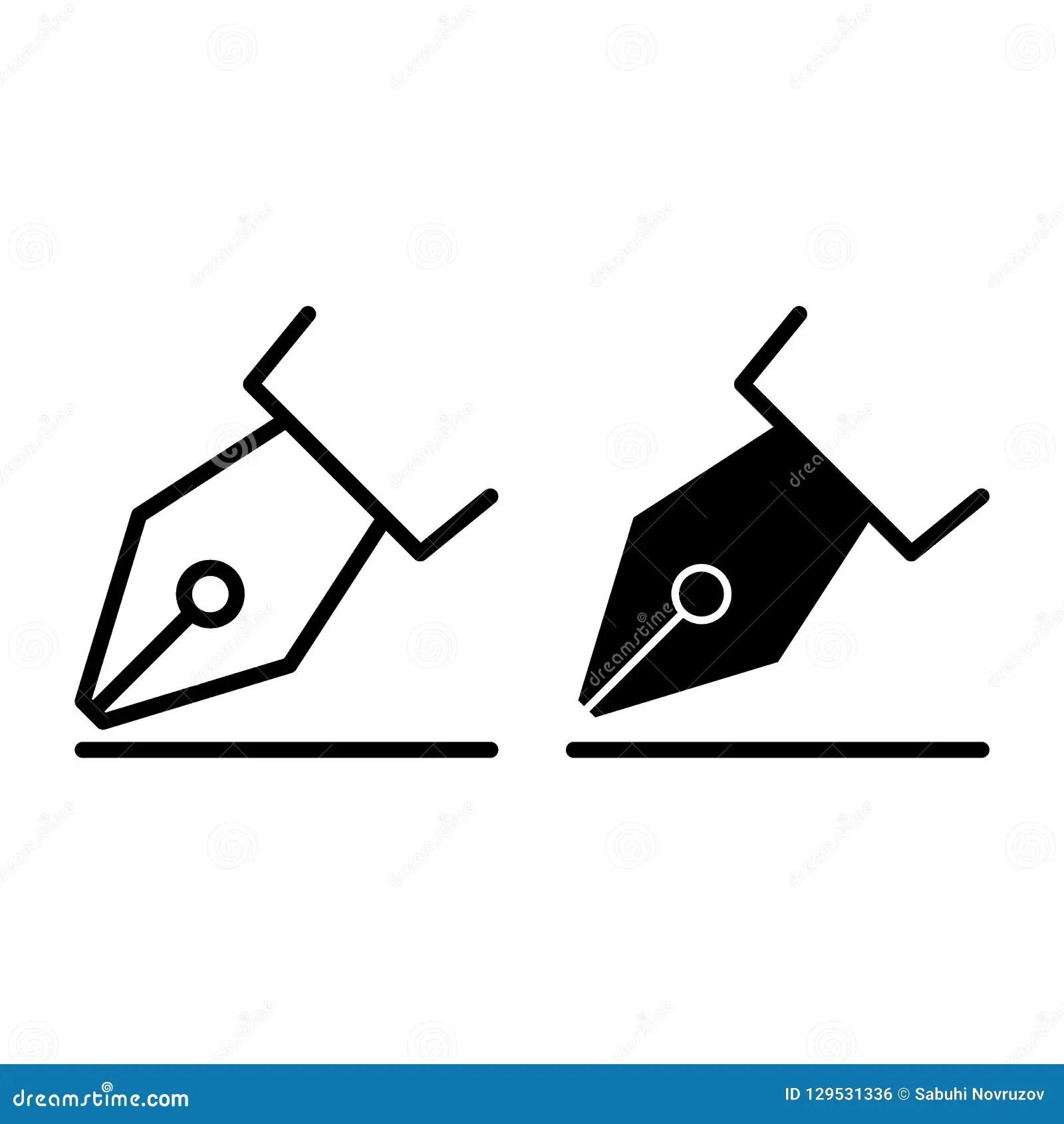 Fountain Pen Line And Glyph Icon Nib Vector Illustration