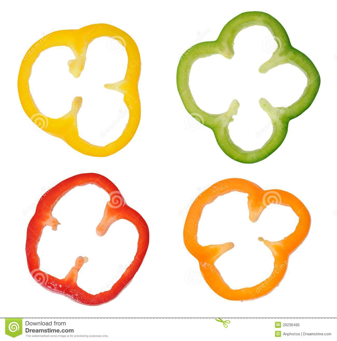 Four Colorful Slices Of Bell Pepper Royalty Free Stock
