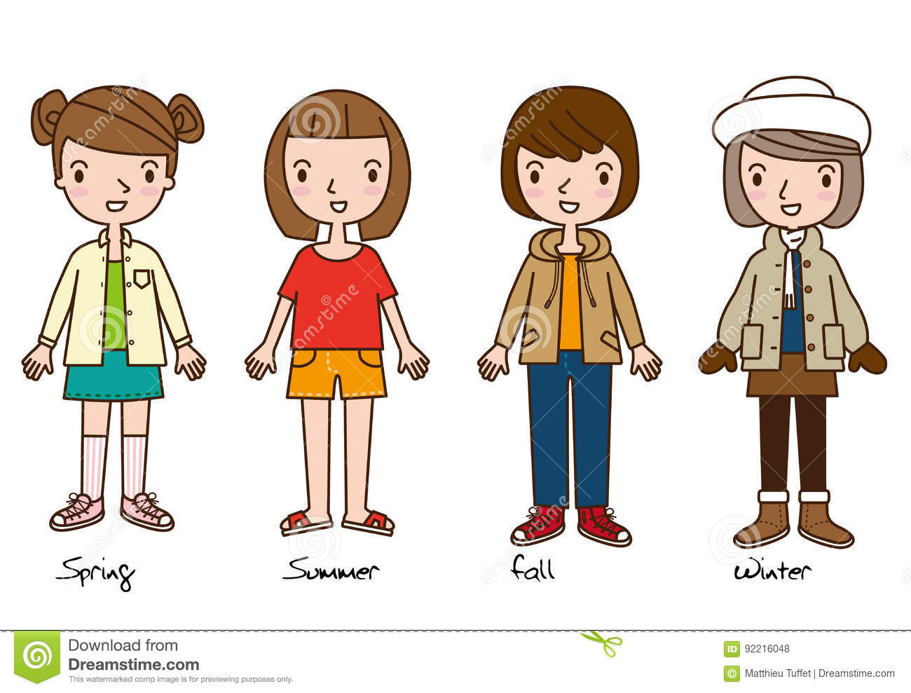 Four Girls Representing Four Seasons Clothes Cartoon Stock