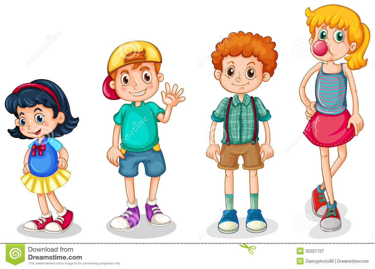 Four Kids Stock Vector Illustration Of Playful Children