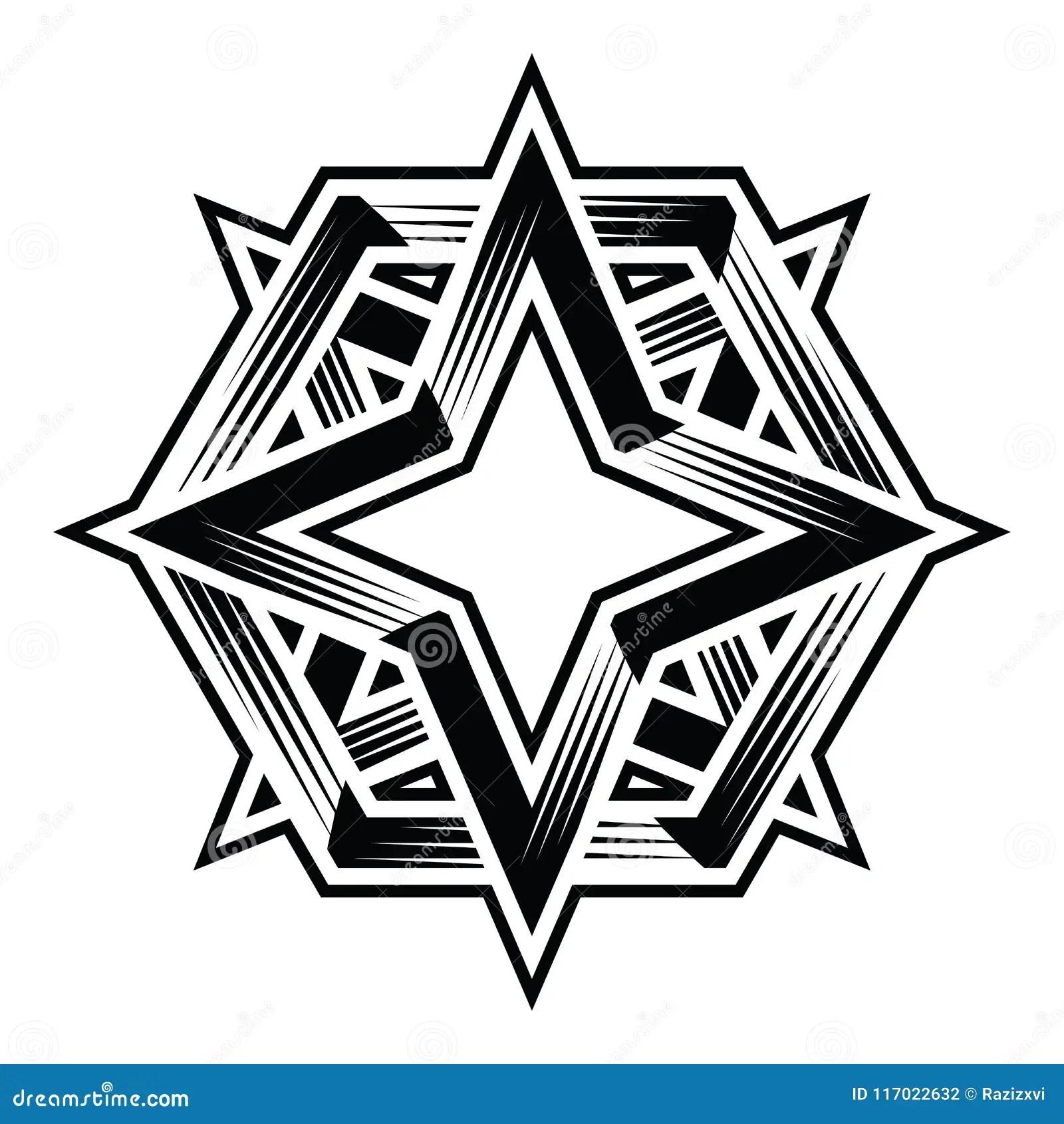 Four Point 4point Star Duo Hexa Polygon Vector Clipart