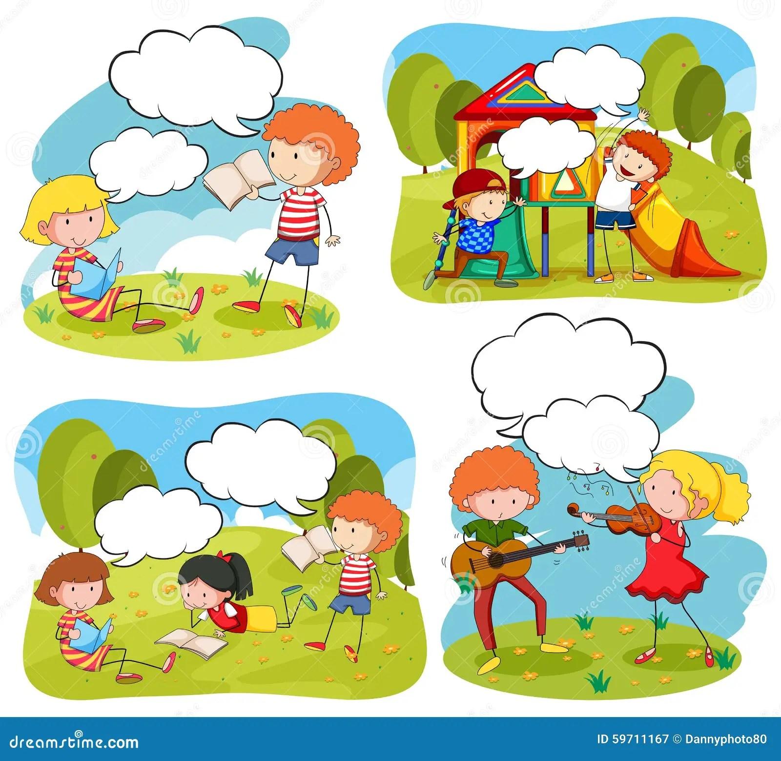 Four Scenes Of Children Doing Activities In The Park Stock