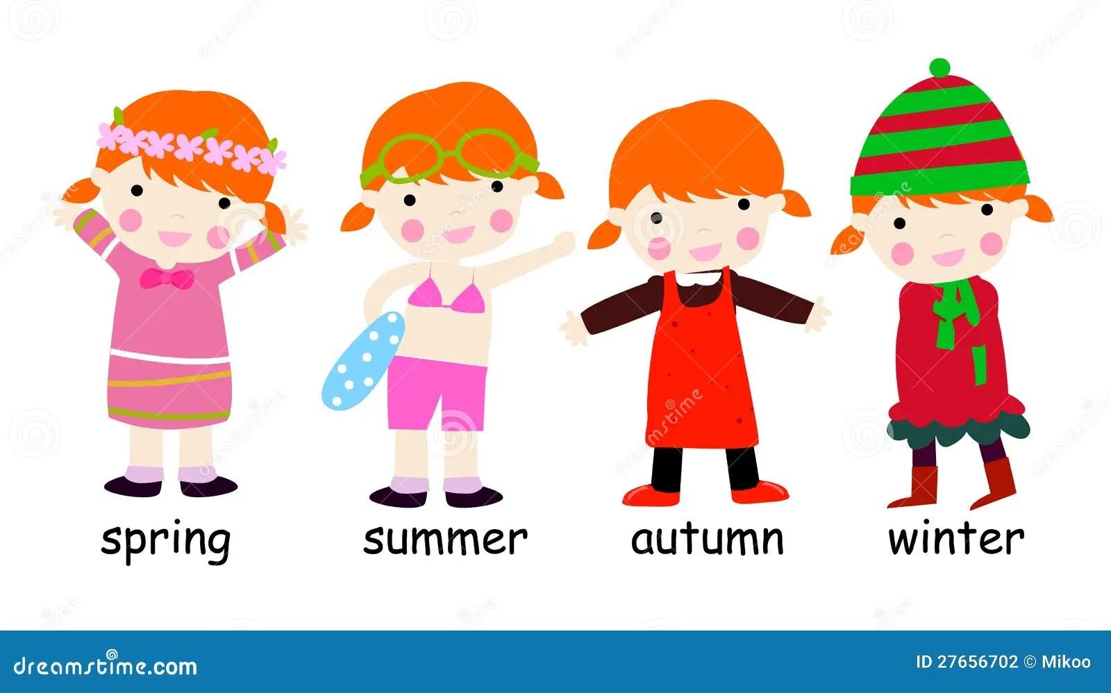 Four Season Children Stock Vector Illustration Of Season