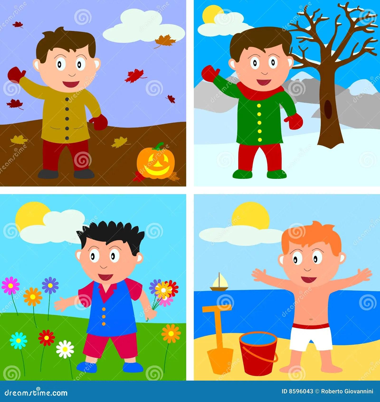 Four Seasons Boys Stock Vector Illustration Of Outdoor