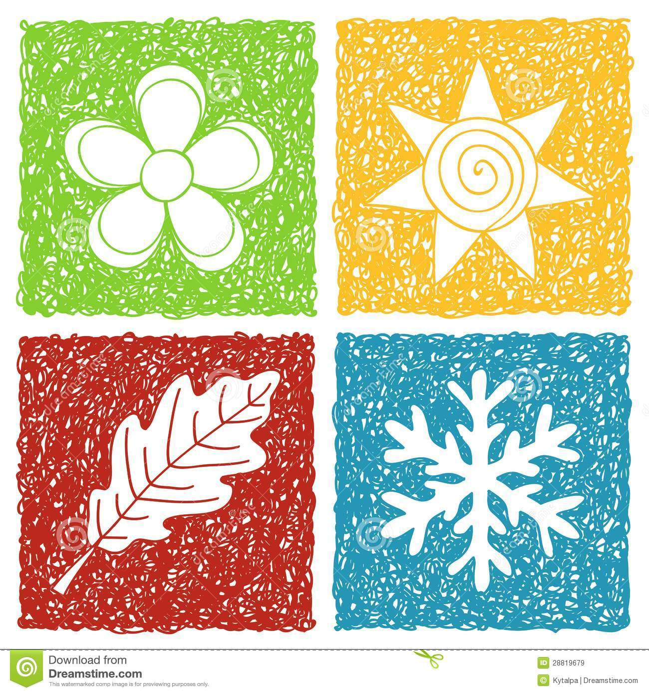Four Seasons Doodle Icons Stock Vector Illustration Of