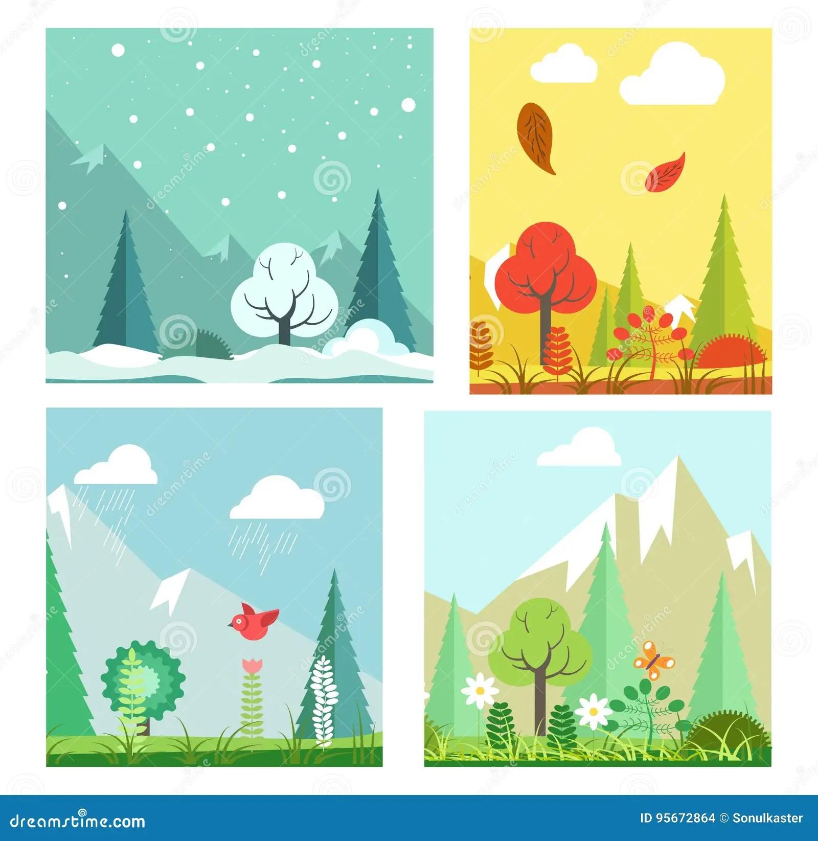 Four Seasons Nature Landscape Winter Summer Autumn