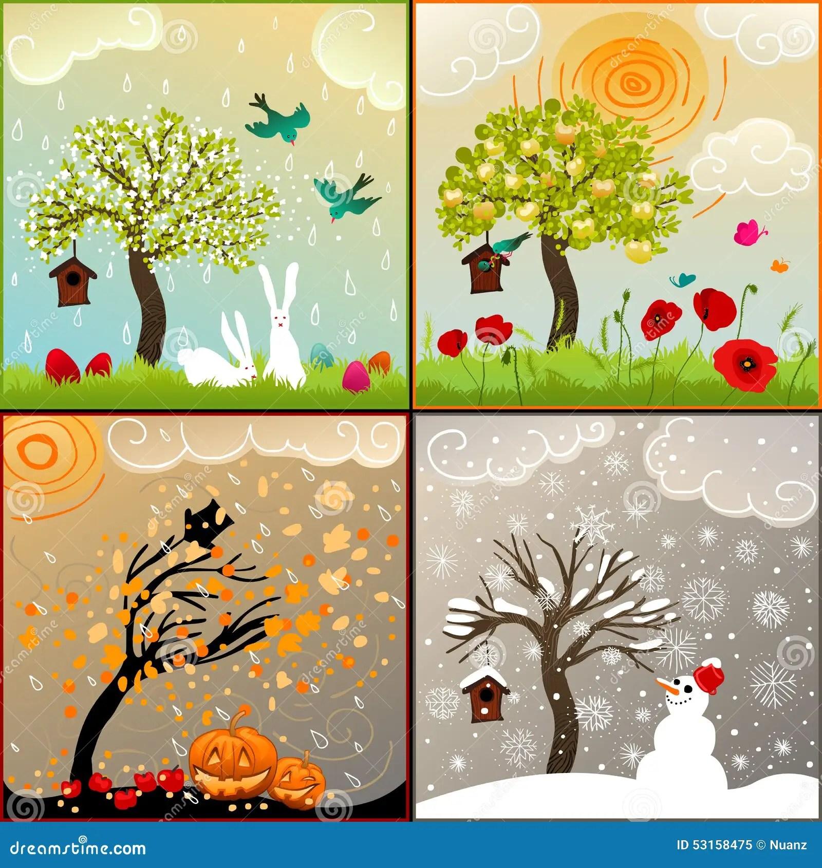 Four Seasons Themed Illustrations Set With Apple Tree