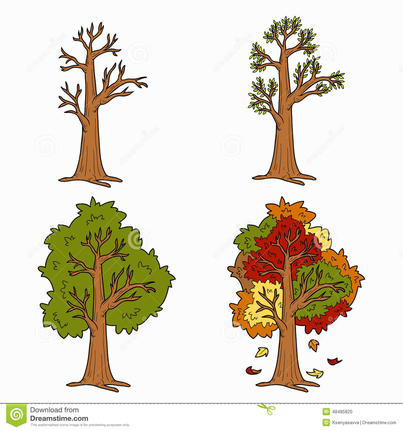 Four Seasons Vector Set Of Trees Stock Vector
