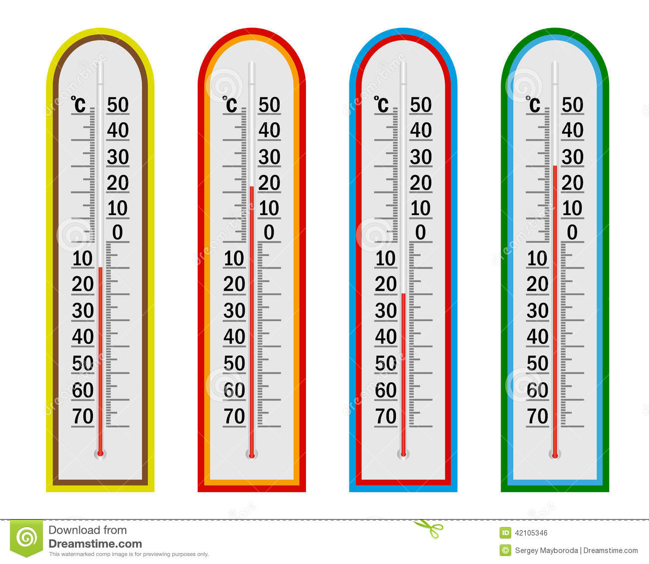 Four Thermometer Stock Vector Illustration Of Thermometer