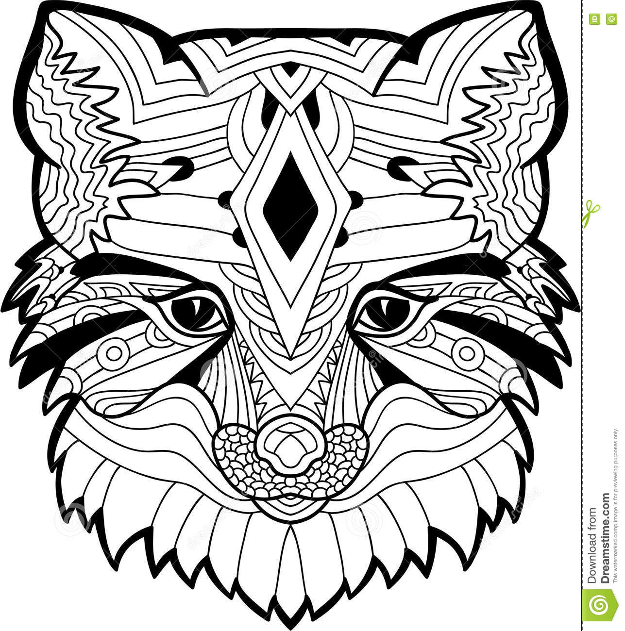 The Fox Head Pattern Monochrome Ink Drawing Stock Vector