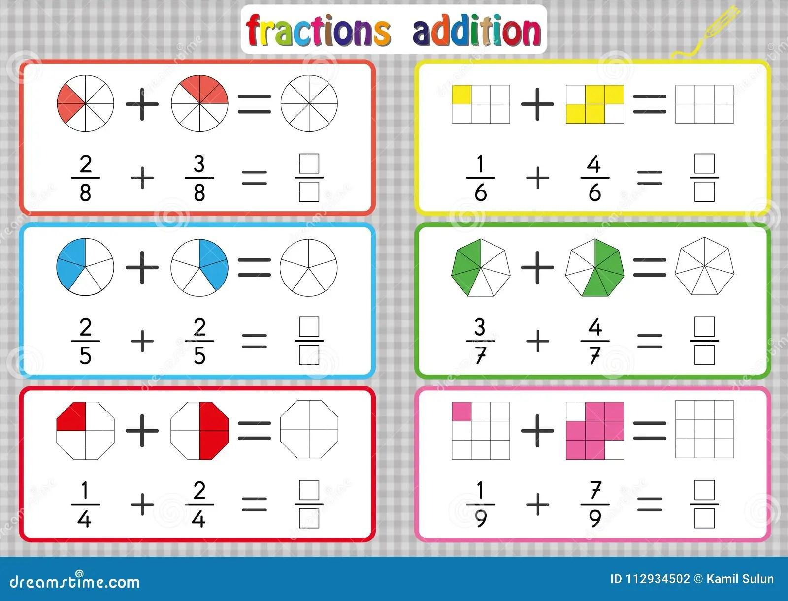 Fractions Addition Fiches De Travail Imprimables De